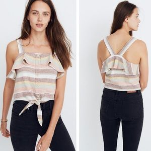 Madewell Striped Button Tie Front Tank Top